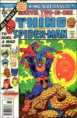 Thanos battles Spider-Man and the Thing on the...