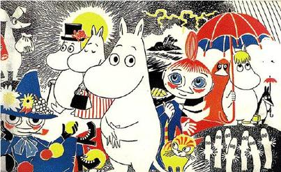 A picture of characters from the cartoon The Moomins,