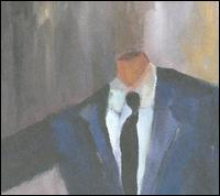 A painting of the torso of a man in a suit with no head