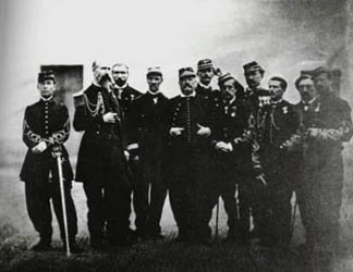 Bazaine and his staff officers including Colonel Willette and his nephews Capt Adolphe Bazaine-Hayter and Lt George Bazaine-Hayter in 1870 Marshal Bazaine with his personal staff officers in 1870.jpg