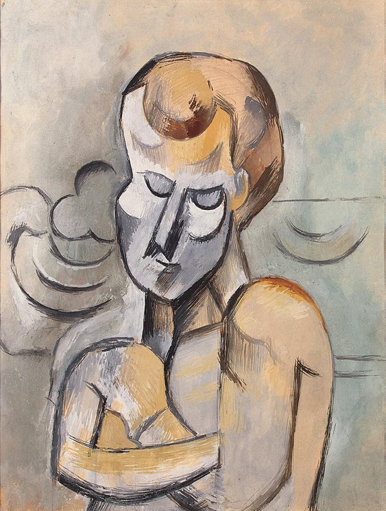 file pablo picasso 1909 man with arms crossed watercolor gouache