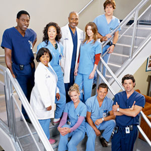 A photo displaying the original core cast members, of Grey's Anatomy