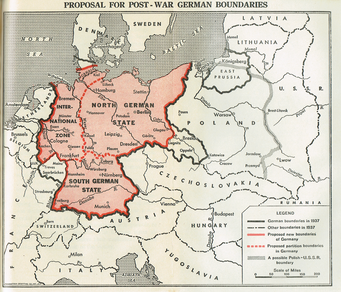 Morgenthau's proposal for the partition of Germany from his 1945 book Germany is Our Problem.