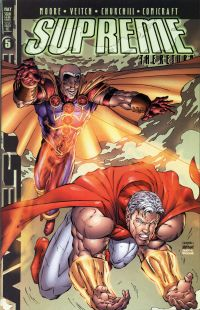 Comic-book cover of muscular, caped superhero overcoming an enemy