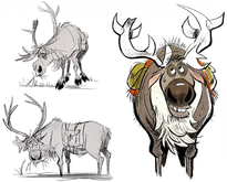 Concept art of a fictional reindeer from the Frozen franchise