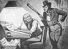 William Gladstone writing legislation under pressure from the Land League. Caricature 1881.