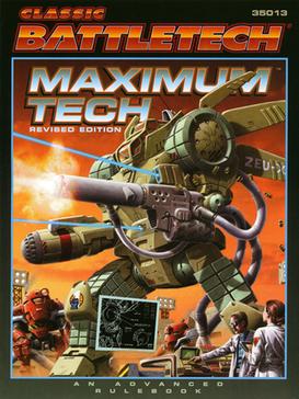 A Zeus Assault class BattleMech depicted on the cover of Maximum Tech, an advanced BattleTech rulebook