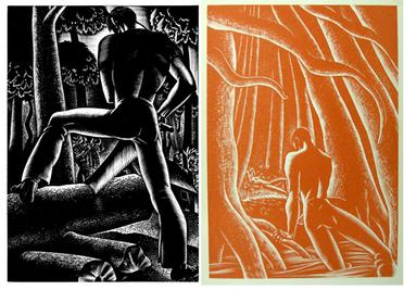 Two monochrome images.  The left, in black, depicts a man from behind sawing wood, and the right, in orange, a man in the woods emerging from the water, directing himself toward a nude female who lies on the ground in the distance.