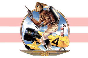 Painted illustration of the Rocketeer