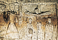St Catherine & Christ carved in Royston Cave b...