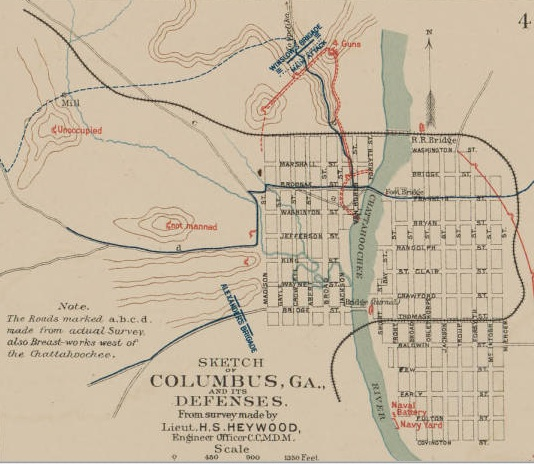 Map Of Columbus Georgia.File Sketch Of The Defenses Of Columbus Ga Jpg Wikipedia