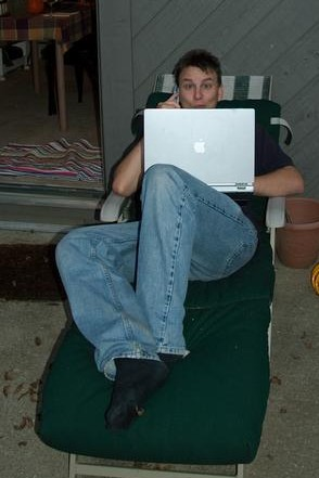 Thomas Stromberg at his laptop