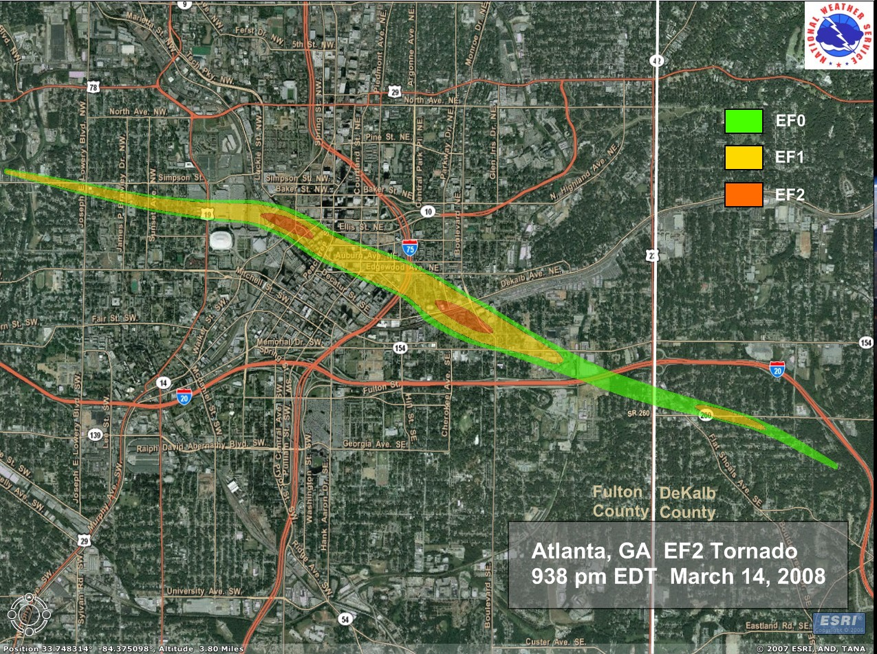 Street level tornado track map of the