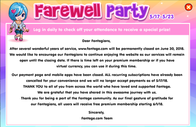 b0260647851a The message Fantage s development team left for the game s users regarding  the game s discontinuation.