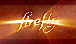 "The word ""Firefly"" against a parchment background written in a golden illuminated flowing cursive script"