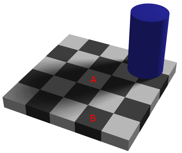 illusion grey and square In fact, this is a visual illusion the two central gray squares are physically identical, one surrounded by white and the other surrounded by black this illusion can be explained by what we know about the visual processing in the retina.