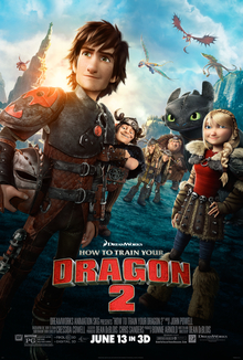A dark haired boy, holding a helmet by his side, his friends and a black dragon behind him: Dragons are flying overhead.
