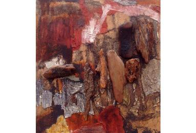 What may be called wood collage is the dominant feature in this 1964 mixed media painting by Jane Frank (1918–1986)
