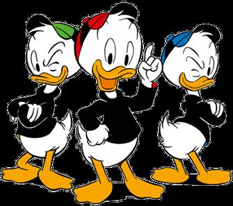Huey, Dewey, and Louie trio of fictional, anthropomorphic ducks