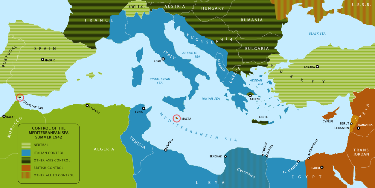 Mediterranean Political Map.File Map Of The Mediterranean Sea In Summer 1942 Showing Controlled