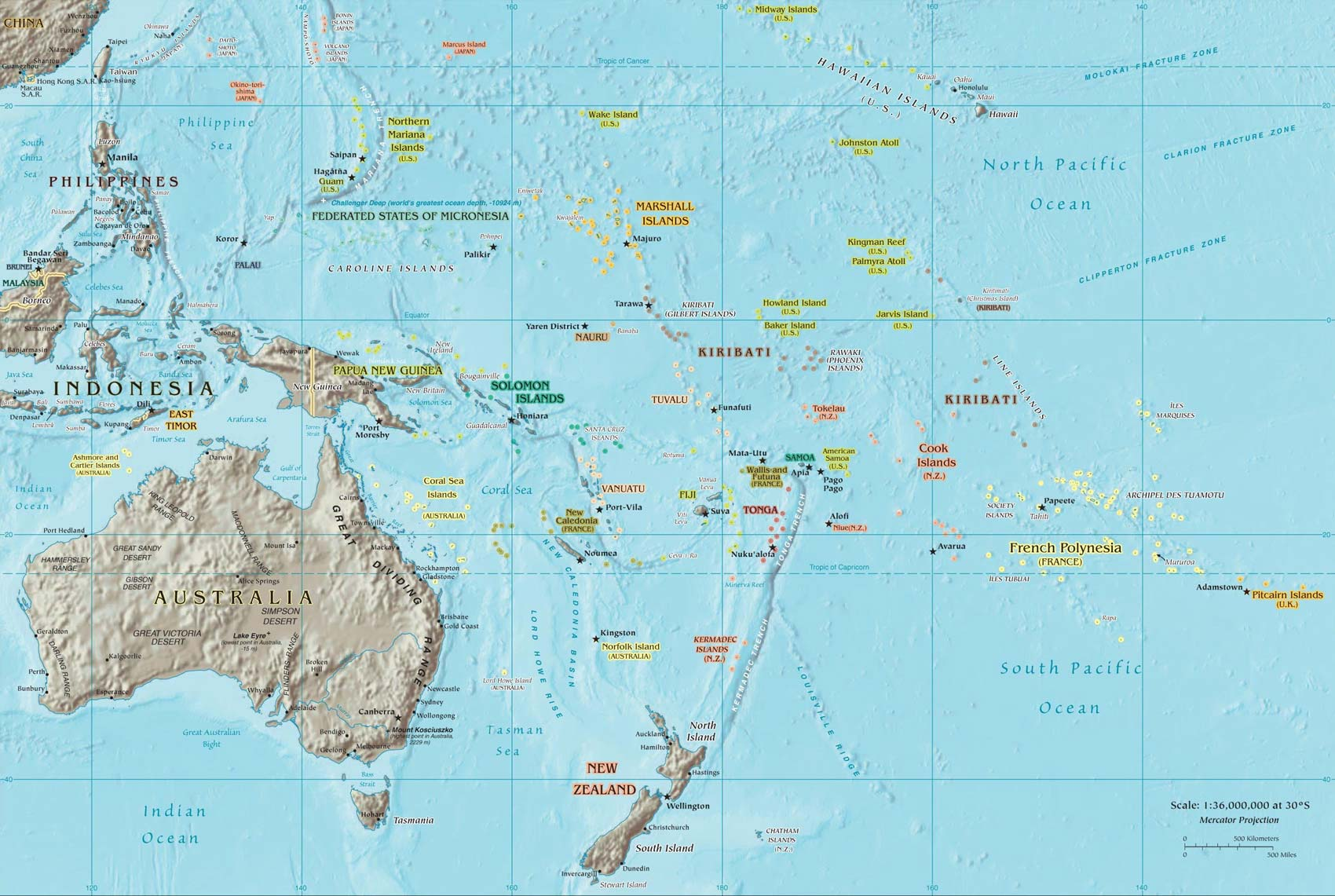 pacific ocean map with islands - photo #5