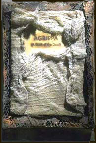 Image constructed for this work by a graphic artist. It shows a decayed book-shaped object delicately wrapped in mesh cloth.
