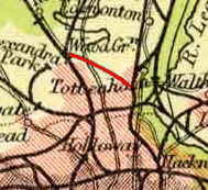 Route of Palace Gates Line highlighted on a 1900 map