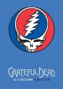 Grateful Dead lightning bolt skull logo, on a dark blue background