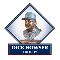 "A bust of the Dick Howser Trophy in a blue diamond, with the words ""DICK HOWSER TROPHY"" below in white letters on a blue background."