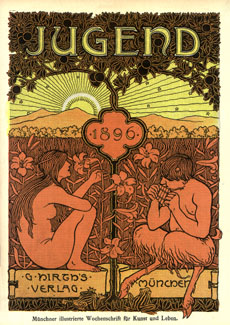 Cover page of an 1896 edition of Jugend magazine. The magazine, founded and edited by Hirth, was important for helping popularize Art Nouveau and for lending its name to the German term for the style, Jugendstil.