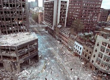 The aftermath of an Irish Car Bomb in Bishopsgate, London, 1993