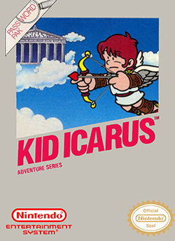The packaging of Kid Icarus, which shows several logos and pixel art of a scene from the game.