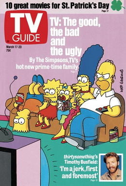 A TV Guide cover from the March 17-23, 1990, issue. The cover story illustrated in the issue focused on the breakout success of the then-freshman Fox series The Simpsons; an interview with Thirtysomething star Timothy Busfield is also previewed in this cover. TV Guide magazine cover.png