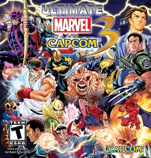 The reversible cover art, created by Mark Brooks, included in the North American release. UMvC3 Alternate Cover.jpg