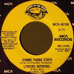 Gimme Three Steps 1973 song performed by Lynyrd Skynyrd