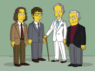 Michael Chabon, Jonathan Franzen, Tom Wolfe, and Gore Vidal in the promotional image for The Simpsons Episode HABF19. ©2006 Twentieth Century Fox Film Corporation/Fox Broadcasting Company