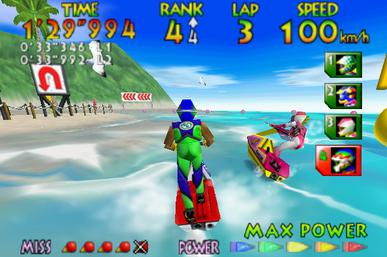The player races an opponent on the Sunny Beach course. The arrows at the bottom right corner of the screen indicate the Jet Ski's current power. N64 Wave Race 64.jpg
