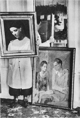 "Scene from the Degenerate Art auction, spring 1938, published in a Swiss newspaper; works by Pablo Picasso, Head of a Woman (lot 117), Two Harlequins (lot 115). ""Paintings from the degenerate art action will now be offered on the international art market. In so doing we hope at least to make some money from this garbage"" wrote Joseph Goebbels in his diaries.[33]"
