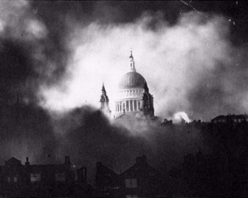 a picture of St. Paul's rising above the smoke of fires in London during the Blitz