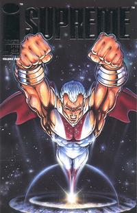 Comic-book cover, with Supreme emerging into the air with fists clenched