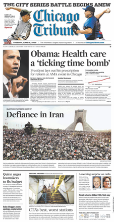 Front page of Chicago Tribune on June 16, 2009