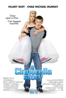 "A young man and a young woman standing in front of a white background. The man wears a grey shirt with black sleeves, blue jeans and black sneakers with white shoelaces. The woman, being carried on his back, wears a white tiara, white ballgown and pink-and-white sneakers with white shoelaces. On their image, the text ""A Cinderella Story "" is written in blue print, with the phrase ""Once upon a time... can happen anytime"" is written in black print to their right."