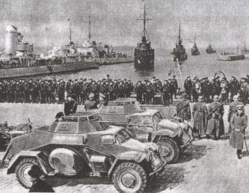German warships in the port the day after the ultimatum was accepted Nazi armada in klaipeda.jpg