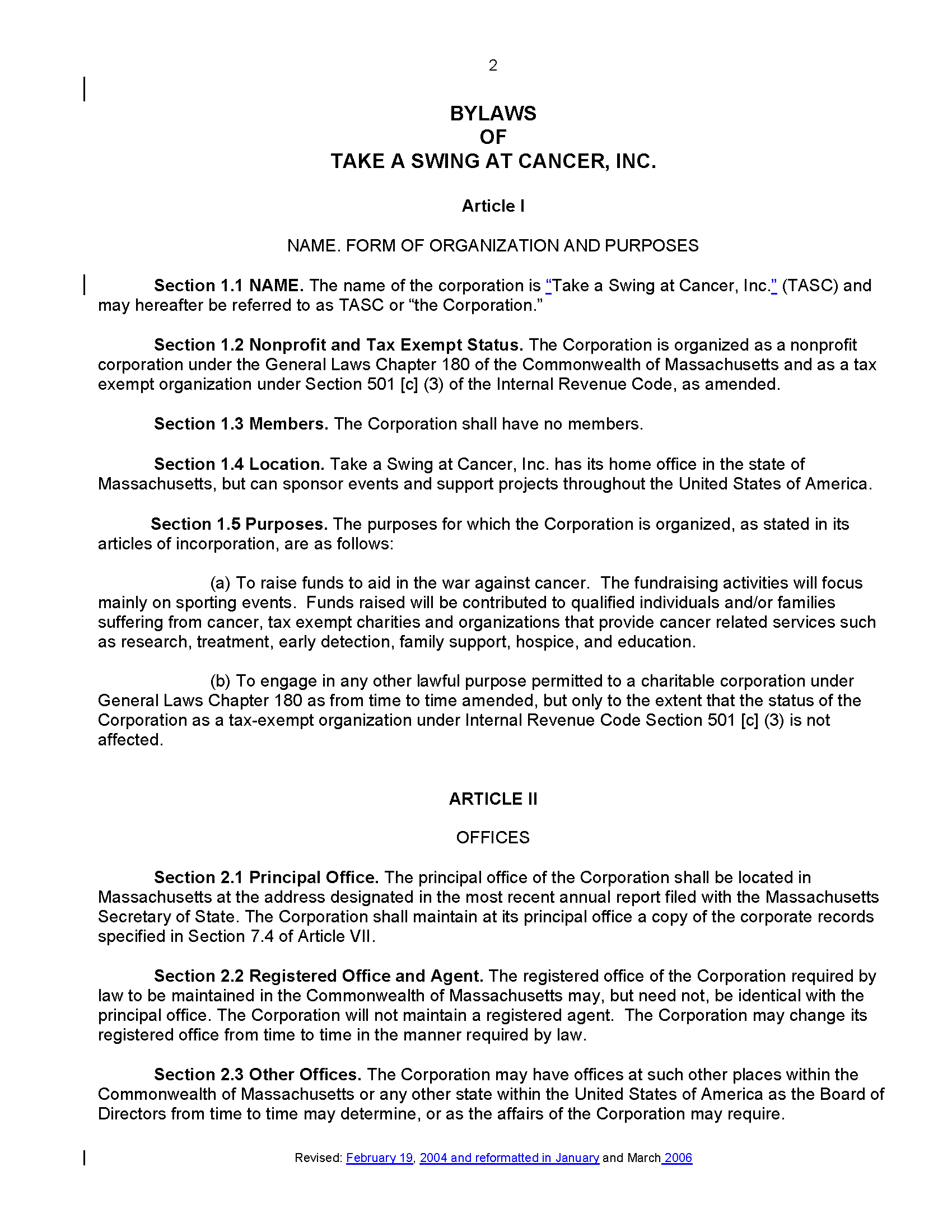 File tasc bylaws 2006 wikipedia for S corp bylaws template