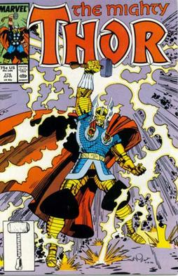 First appearance of Thor's battle armor: Thor #378 (April 1987). Cover art by Walt Simonson. Thor Vol 1 378.jpg