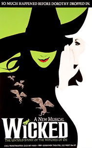 Poster shows a stylized drawing of Elphaba's face, partially obscured by a witch's hat covering the eyes.