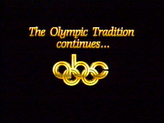 The title card for the ABC Olympic Games coverage. Note the integration of the network logo into the Olympic symbol.
