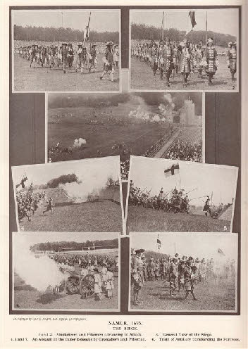 Modern reenactments of historical battles were held at Royal Tournament, Aldershot Tattoo. Pictured, the programme for the 1934 show, where the Siege of Namur was recreated. Battle of namur reenactment.jpg