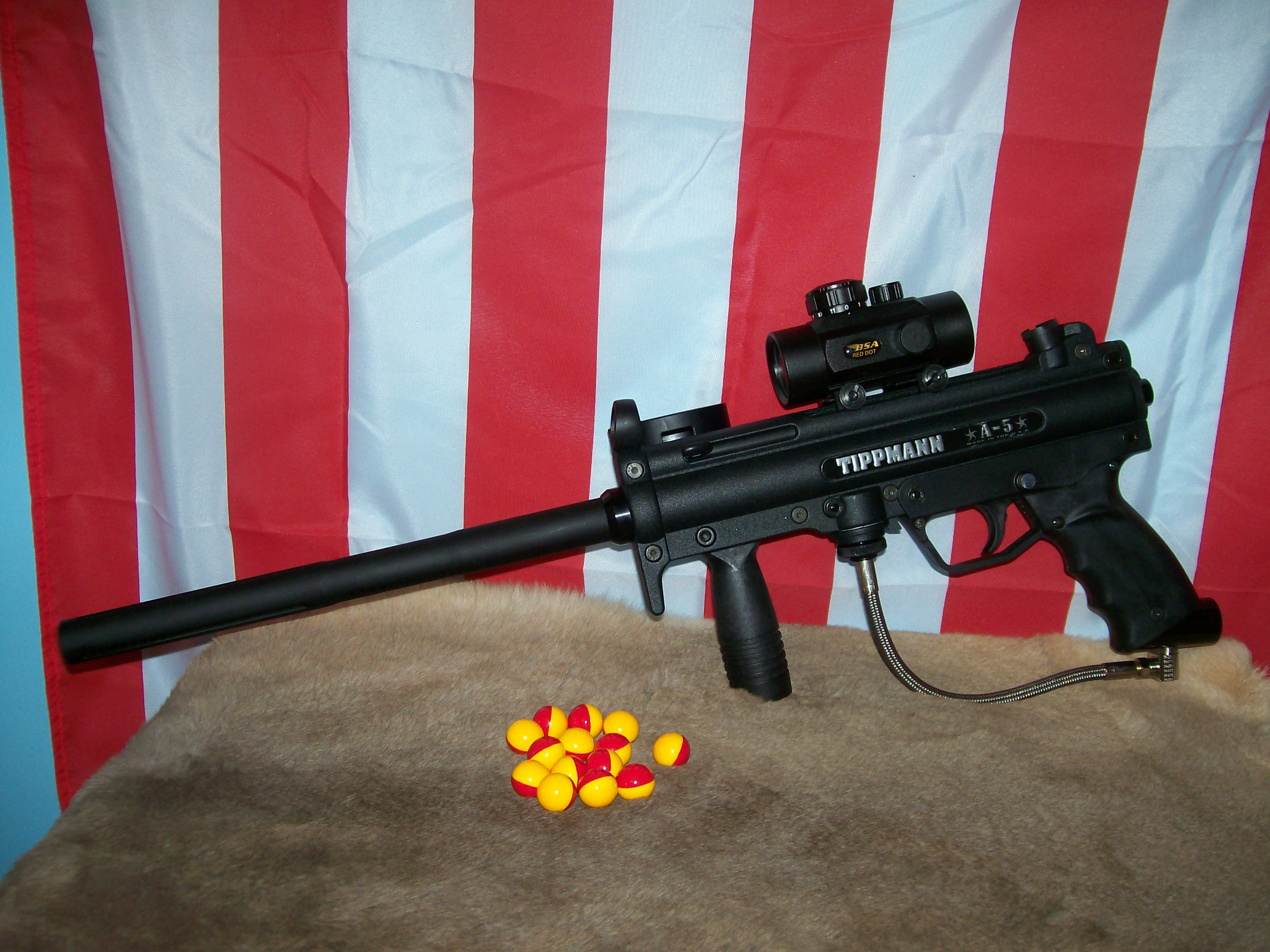 Tippmann A 5 Wikipedia 98 Custom Parts Diagram Basic With Aftermarket 12 Ceramic Barrel By Jj And Bsa 30mm Red Dot Sight
