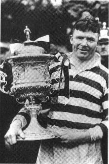 Jim Sullivan, born in Cardiff, first played for Wales on the 21 December 1920 against Australia and played a then record 26 times for Wales throughout the 1920s, and 1930s. This picture depicts him with the Championship Trophy for Wigan. JimSullivan.jpg